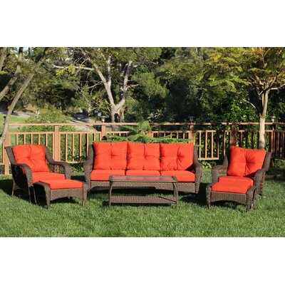 Herrin 6 Piece Wicker Seating Group with Cushions Fabric: Vermilion Red, Frame Finish: Espresso