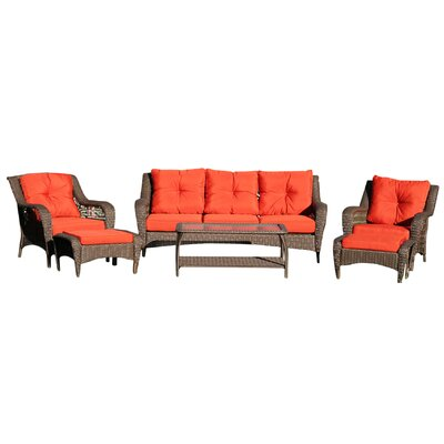 Herrin 6 Piece Wicker Seating Group with Cushions Fabric: Vermilion Red