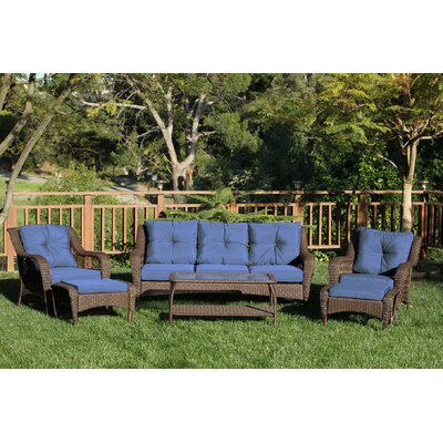 Herrin 6 Piece Wicker Seating Group with Cushions Fabric: Midnight Blue, Frame Finish: Espresso