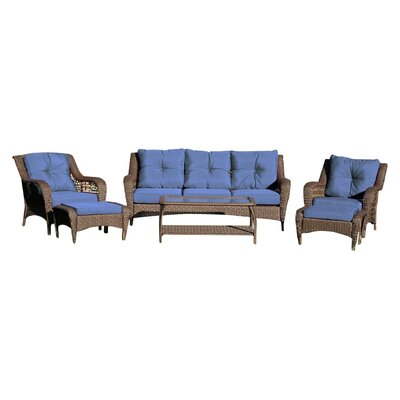 Herrin 6 Piece Wicker Seating Group with Cushions Fabric: Spruce Blue