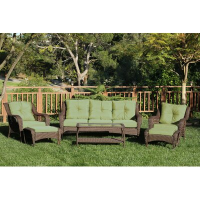 Herrin 6 Piece Wicker Seating Group with Cushions Fabric: Green, Frame Finish: Espresso