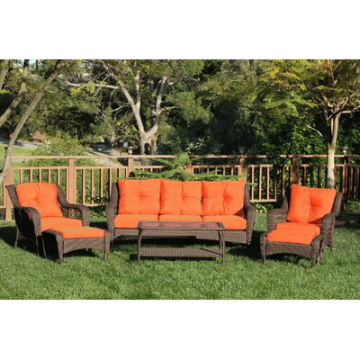 Herrin 6 Piece Wicker Seating Group with Cushions Fabric: Orange, Frame Finish: Espresso