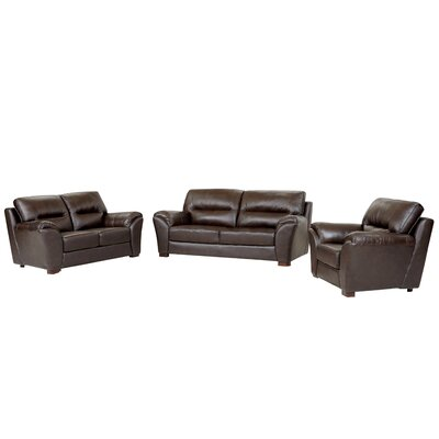 Pennington 3 Piece Leather Living Room Set