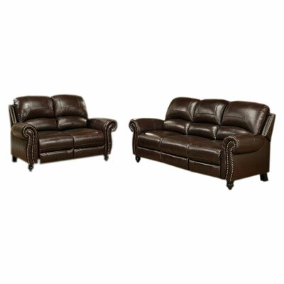 Kahle Leather 2 Piece Living Room Set