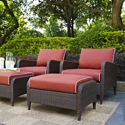 Mosca Traditional 4 Piece Deep Seating Group with Cushion