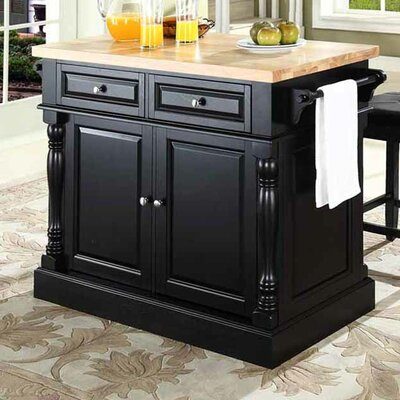 Lewistown 3 Piece Kitchen Island Set with Butcher Block Top Base Finish: Black