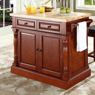 Lewistown 3 Piece Kitchen Island Set with Butcher Block Top Base Finish: Classic Cherry