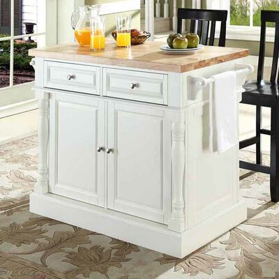 Lewistown Kitchen Island Set with Butcher Block Top Base Finish: White