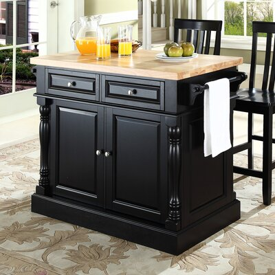 Lewistown Kitchen Island Set with Butcher Block Top Base Finish: Black