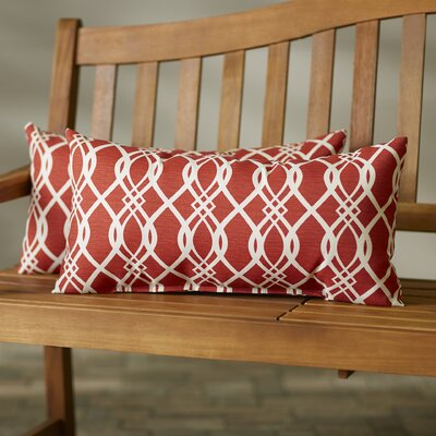 Valier Outdoor Lumbar Pillow Size: 13 H x 20 W x 5 D, Color: Red