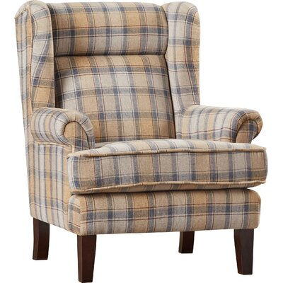 Finley Plaid Print Wingback Chair Color: Beige