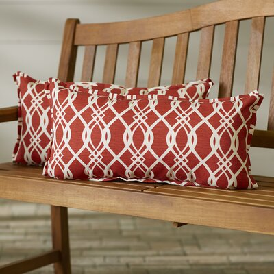 Valier Outdoor Lumbar Pillow Size: 12 x 24, Color: Red
