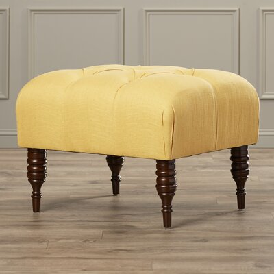 Fairmount Velvet Tufted Ottoman Color: Linen French Yellow