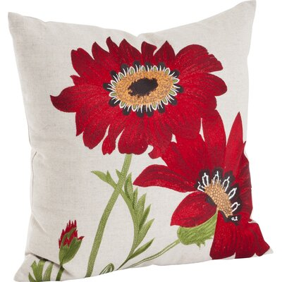 Millsaps Embroidered Throw Pillow Color: Red
