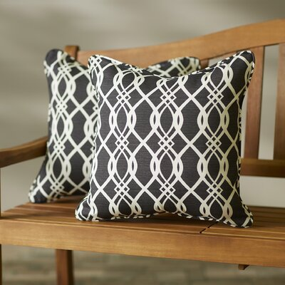 Byron Wavy Indoor/Outdoor Throw Pillow Size: 18 H x 18 W, Color: Black