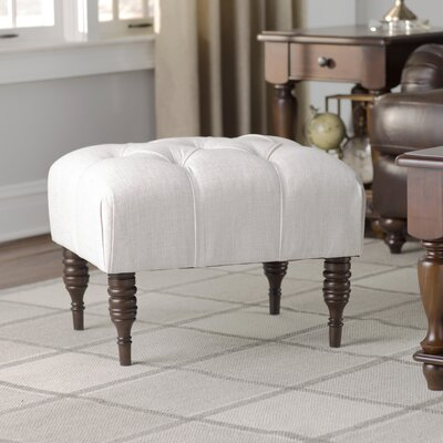 Fairmount Velvet Tufted Ottoman Color: White