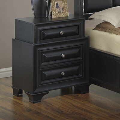 Edwardsville 3 Drawer Nightstand Color: Black