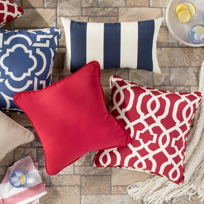 Basilia Outdoor Throw Pillow Size: 20 x 20, Fabric: Canvas Jockey Red