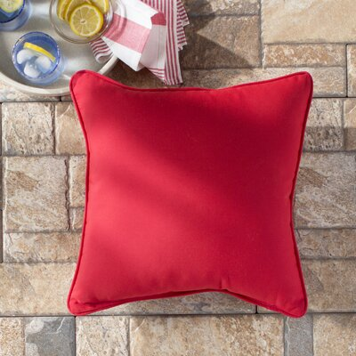 Basilia Outdoor Sunbrella Throw Pillow Size: 18 x 18, Fabric: Canvas Jockey Red