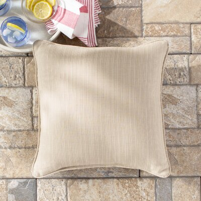 Basilia Outdoor Sunbrella Throw Pillow Size: 18 x 18, Fabric: Canvas Antique Beige