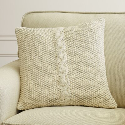 Gascoyne Twist Cotton Throw Pillow Size: 22 H x 22 W x 4 D, Color: Ivory, Filler: Polyester