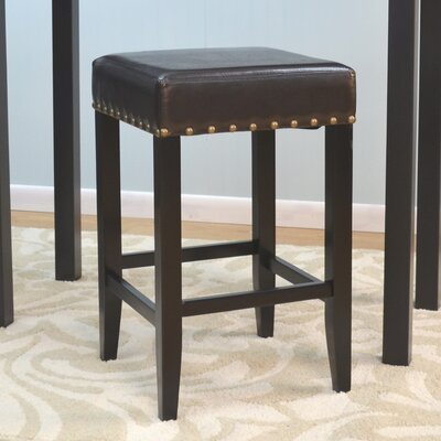 Stafford 24 Bar Stool Upholstery: Brown, Frame Color: Black