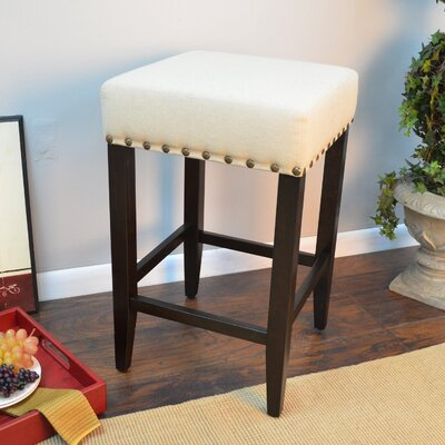 Stafford 24 inch Bar Stool Frame Finish / Upholstery: Espresso / Linen