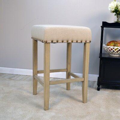 Stafford 24 Bar Stool Upholstery: Cream, Frame Color: Espresso