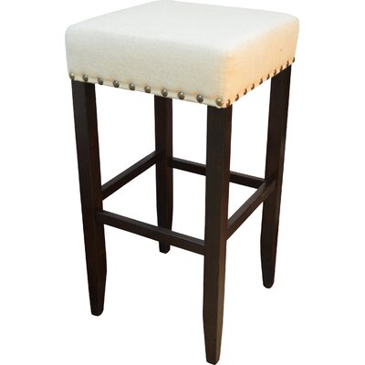 Stafford 30 inch Bar Stool Frame Finish / Upholstery: Espresso / Linen
