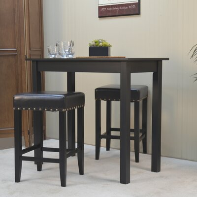 Stafford 3 Piece Pub Table Set Color: Black