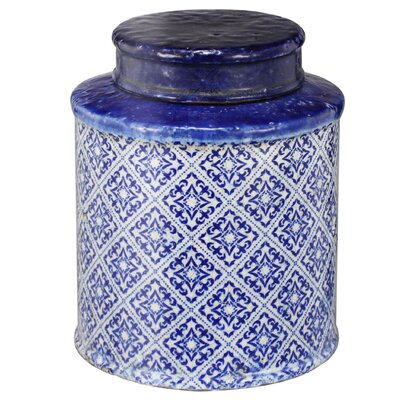 Lidded Decorative Jar Size: 9 H x 7.5 W x 7.5 D