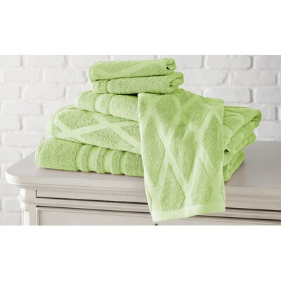 6 Piece Diamond Cotton Towel Set Color: Sage