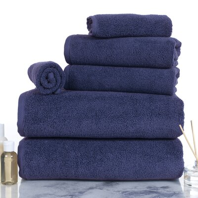 6 Piece Egyptian-Quality Cotton Towel Set Color: Navy