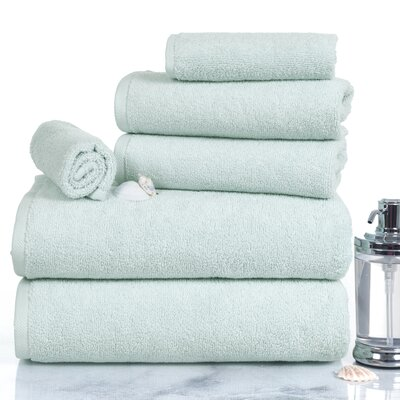 Parsley 6 Piece Egyptian-Quality Cotton Towel Set Color: Seafoam