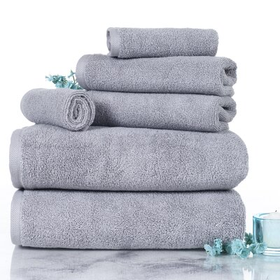 Parsley 6 Piece Egyptian-Quality Cotton Towel Set Color: Silver