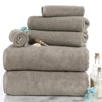 6 Piece Egyptian-Quality Cotton Towel Set Color: Taupe