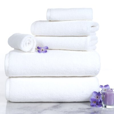 6 Piece Egyptian-Quality Cotton Towel Set Color: White