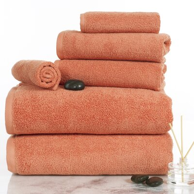 6 Piece Egyptian-Quality Cotton Towel Set Color: Brick