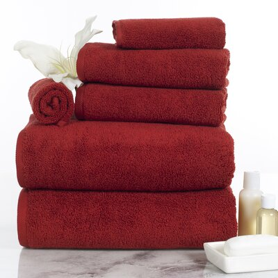 6 Piece Egyptian-Quality Cotton Towel Set Color: Burgundy