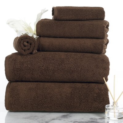 6 Piece Egyptian-Quality Cotton Towel Set Color: Chocolate
