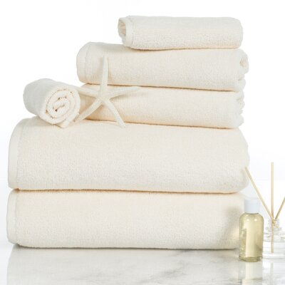 6 Piece Egyptian-Quality Cotton Towel Set Color: Ivory