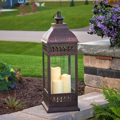 Pinckneyville Triple LED Candle Glass Lantern Color: Bronze
