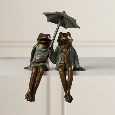 Dynham 2 Piece Sophisticated Frog Shelf Sitters Garden Statue Set