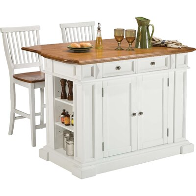 Mattice 3 Piece Kitchen Island Set Base Finish: Snow White