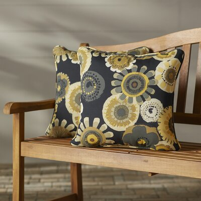 Purlles Outdoor Throw Pillow Color: Black / Yellow Floral