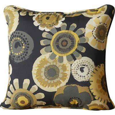 Alsip Outdoor Throw Pillow Color: Black / Yellow Floral