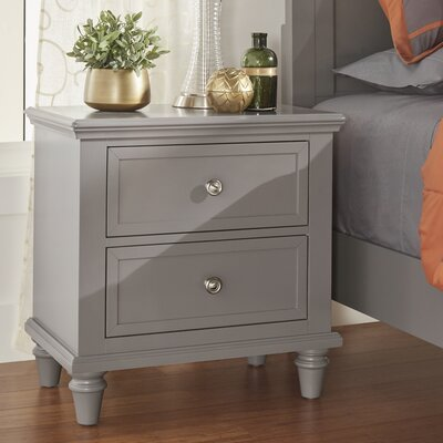 Isabella 2 Drawer Nightstand Color: Frost Gray