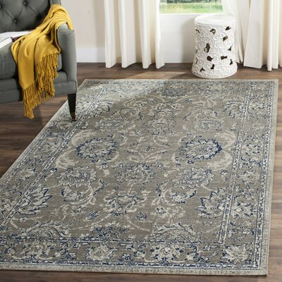 Harwood Dark Gray/Blue Area Rug Rug Size: 51 x 76