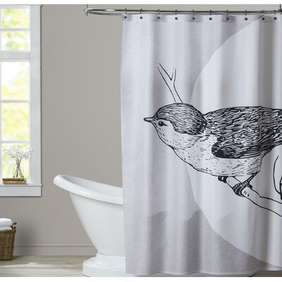 Ikonolexi Bird Shower Curtain Color: Grey