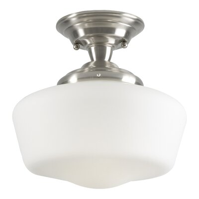 Sainz 1-Light Semi Flush Mount Bulb Type: 60 W Line Medium, Finish: Brushed Nickel